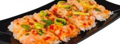 Суши-пицца с лососем и с креветкой